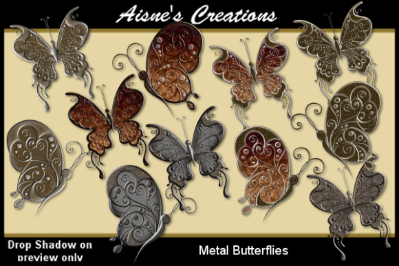 Print on Demand: Metal Butterflies Graphic Objects By Aisne