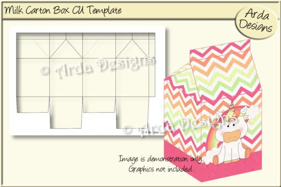 Print on Demand: Milk Carton Gift Box CU Template Graphic Print Templates By Arda Designs