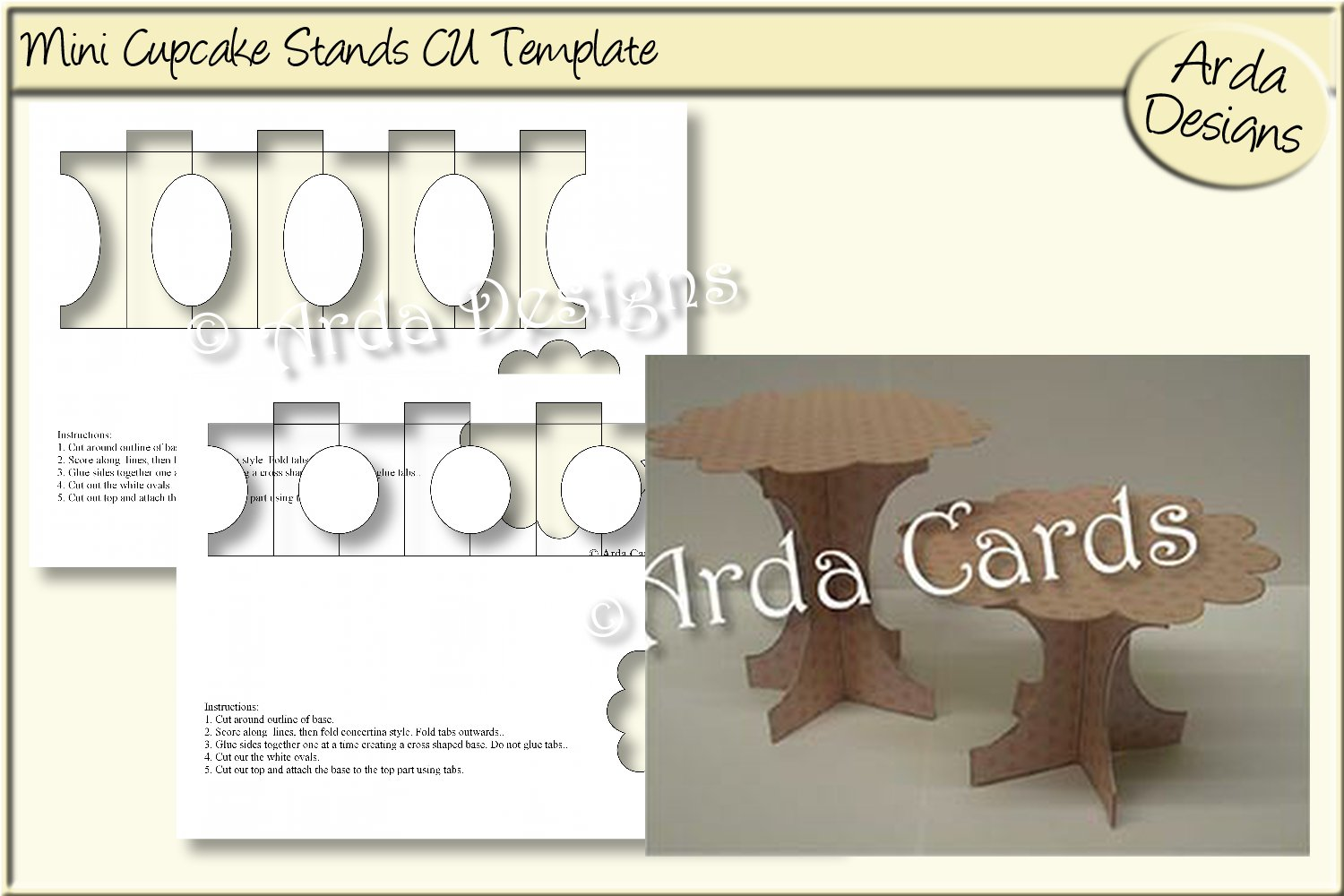 Download Free Mini Cupcake Stands Cu Template Graphic By Arda Designs for Cricut Explore, Silhouette and other cutting machines.