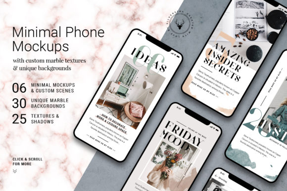 Minimal Phone Mockups & Shadows Graphic By SilverStag Image 1