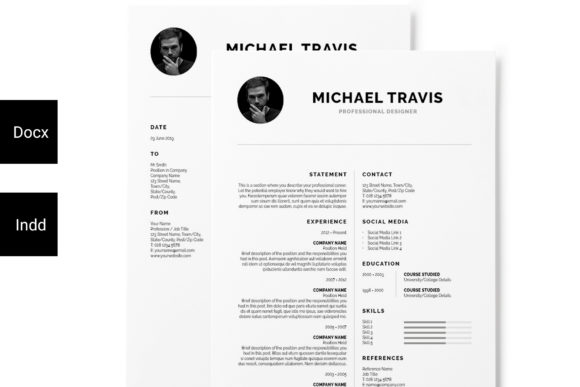 Print on Demand: Minimal Resume + Cover Letter Graphic Print Templates By Masketer