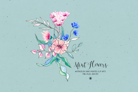 Mint Flowers Graphic Illustrations By webvilla - Image 2