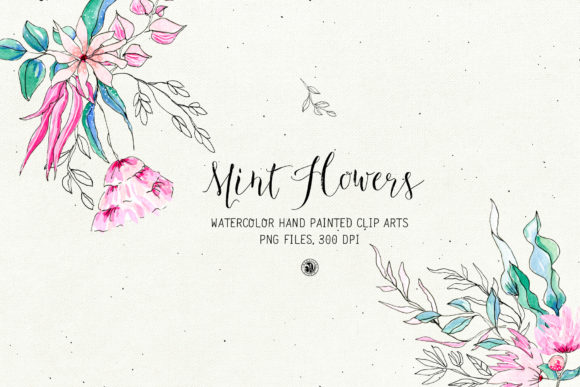Mint Flowers Graphic Illustrations By webvilla - Image 1