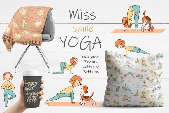 Miss Smile Yoga Collection Graphic Illustrations By Alisovna