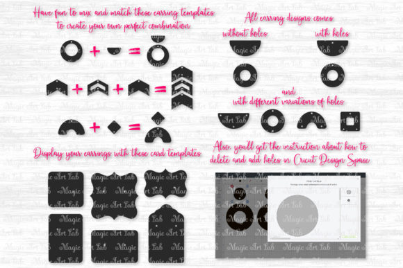 Download Free Mix And Match Earrings Bundle Graphic By Magicartlab Creative for Cricut Explore, Silhouette and other cutting machines.