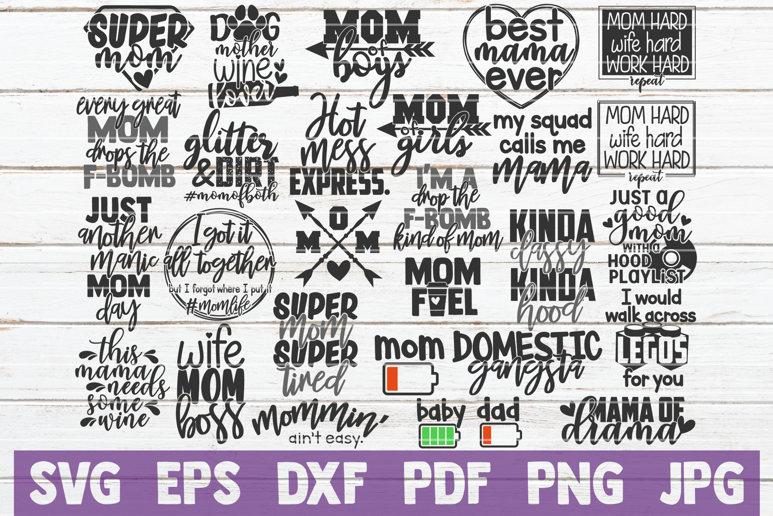Download Free Mom Life Bundle Cut Files Graphic By Mintymarshmallows for Cricut Explore, Silhouette and other cutting machines.