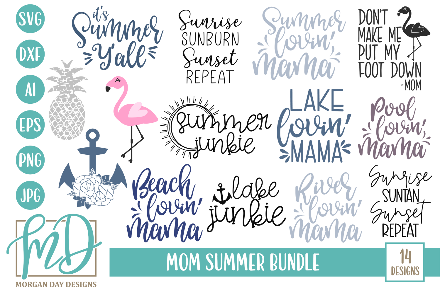 Download Free Mom Summer Bundle Graphic By Morgan Day Designs Creative Fabrica for Cricut Explore, Silhouette and other cutting machines.