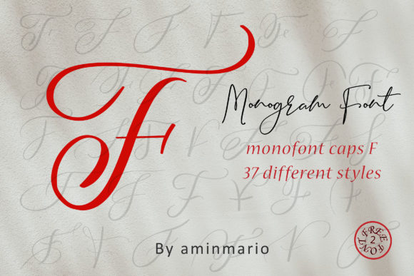 Print on Demand: Monogram F | Monofont Caps F Script & Handwritten Font By aminmario