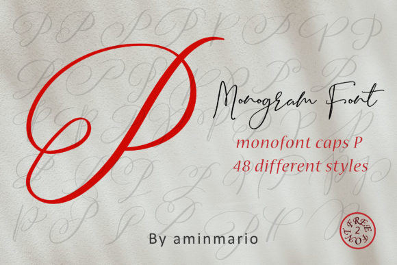 Print on Demand: Monogram P | Monofont Caps P Script & Handwritten Font By aminmario