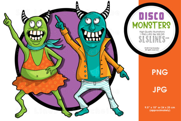Download Free Monster Disco Dance Duo Graphic By Sls Lines Creative Fabrica for Cricut Explore, Silhouette and other cutting machines.