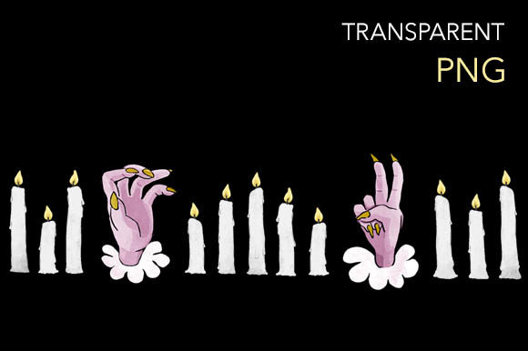Print on Demand: Monster Hands and Candles Border Design Graphic Illustrations By Milaski
