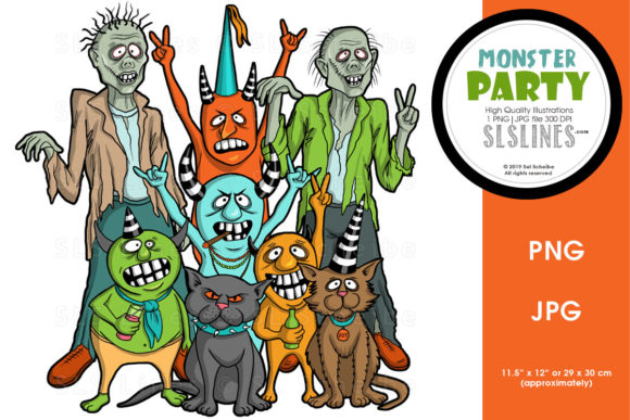 Print on Demand: Monster Party Crew Halloween PNG Graphic Graphic Illustrations By SLS Lines