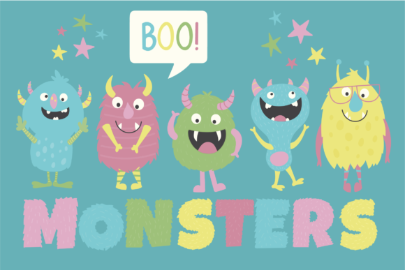 Print on Demand: Monsters Clipart Graphic Illustrations By poppymoondesign