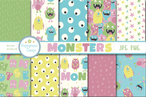 Print on Demand: Monsters Paper Graphic Patterns By poppymoondesign