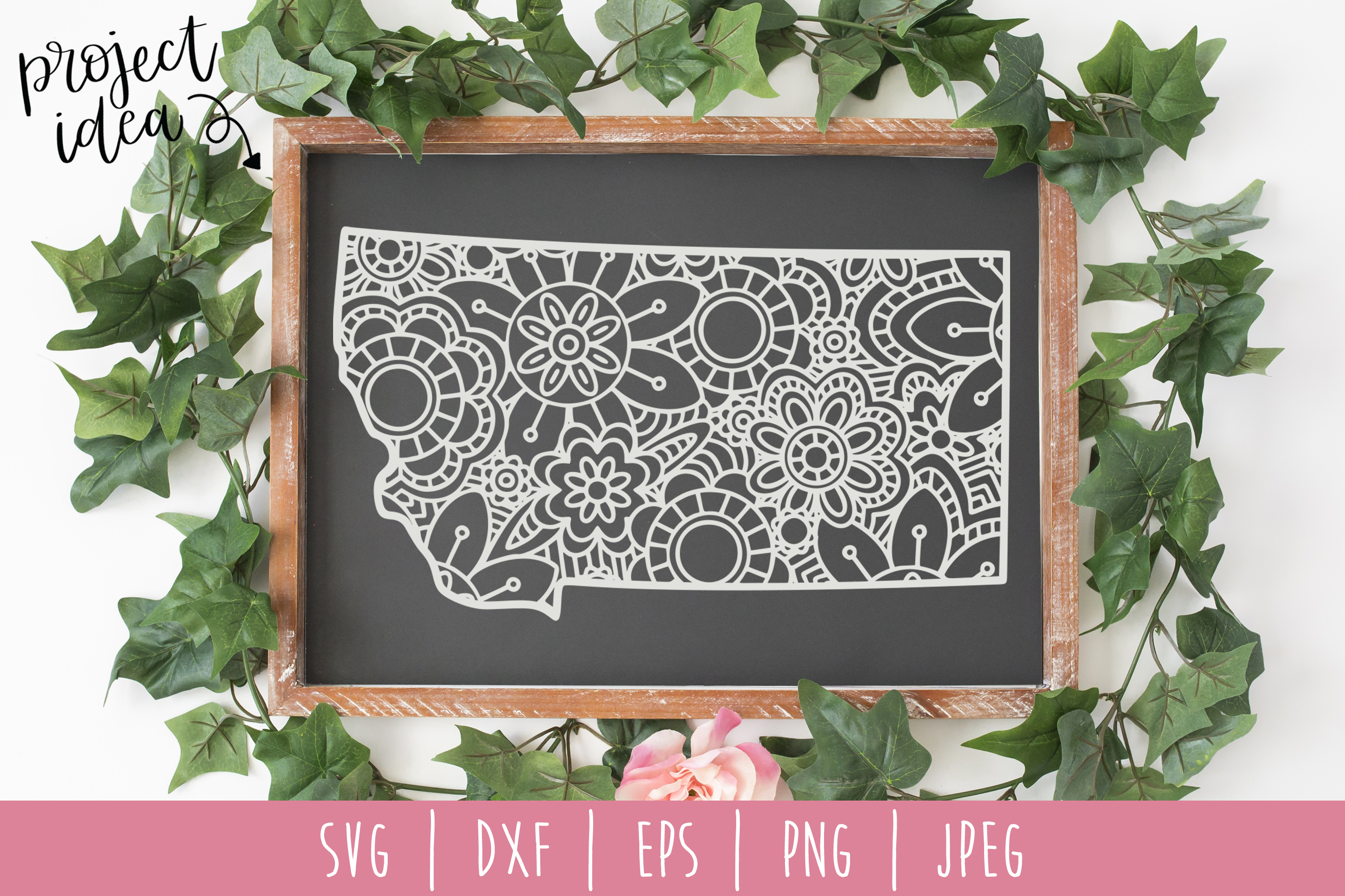 Download Free Montana State Mandala Zentangle Graphic By Savoringsurprises for Cricut Explore, Silhouette and other cutting machines.
