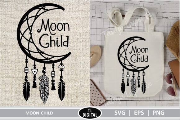 Download Free Moon Child Dreamcatcher Graphic By Tl Digital Creative Fabrica for Cricut Explore, Silhouette and other cutting machines.