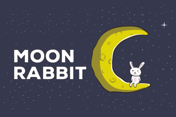 Download Free Moon Rabbit Vector Illustration Artwork Graphic By Peterdraw for Cricut Explore, Silhouette and other cutting machines.