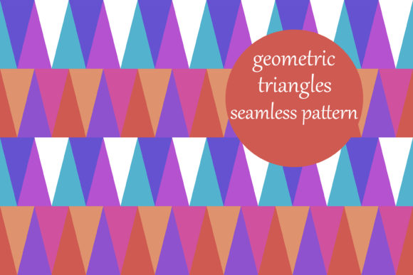Print on Demand: Multicolored Triangles Geometric Pattern Graphic Patterns By brightgrayart