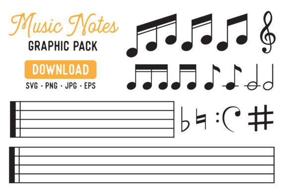 Print on Demand: Music Note Clipart Bundle Graphic Illustrations By The Gradient Fox