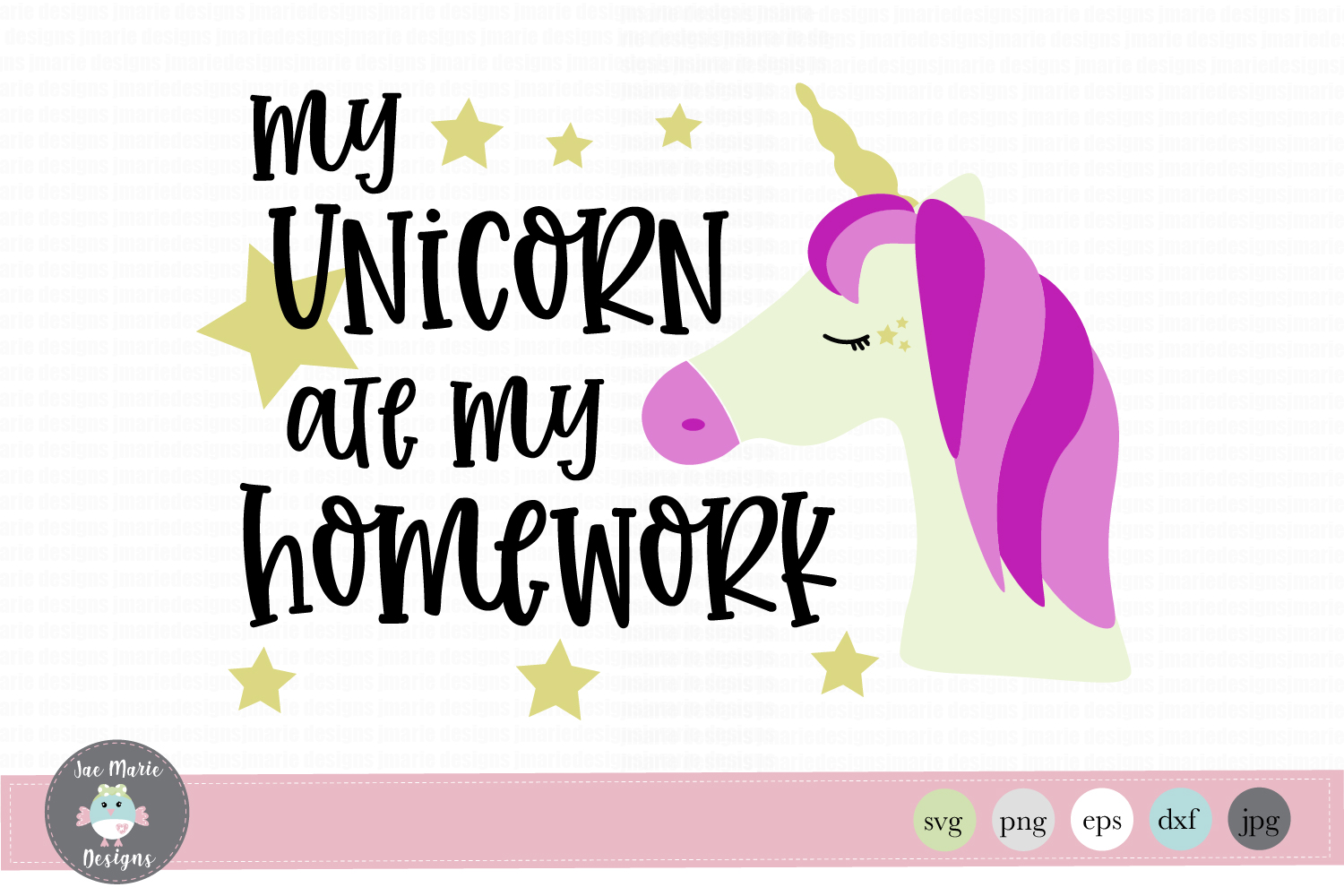 Download Free My Unicorn Ate My Homework Grafico Por Thejaemarie Creative for Cricut Explore, Silhouette and other cutting machines.