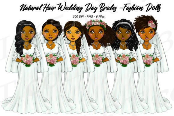 Natural Hair Bride Fashion Girls Graphic Illustrations By Deanna McRae