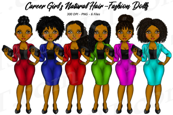 Natural Hair Career Girls Clipart Graphic Illustrations By Deanna McRae