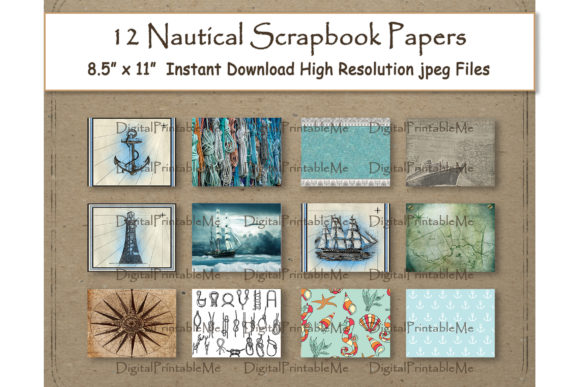 Print on Demand: Nautical Digital Paper 11 Graphic Backgrounds By DigitalPrintableMe