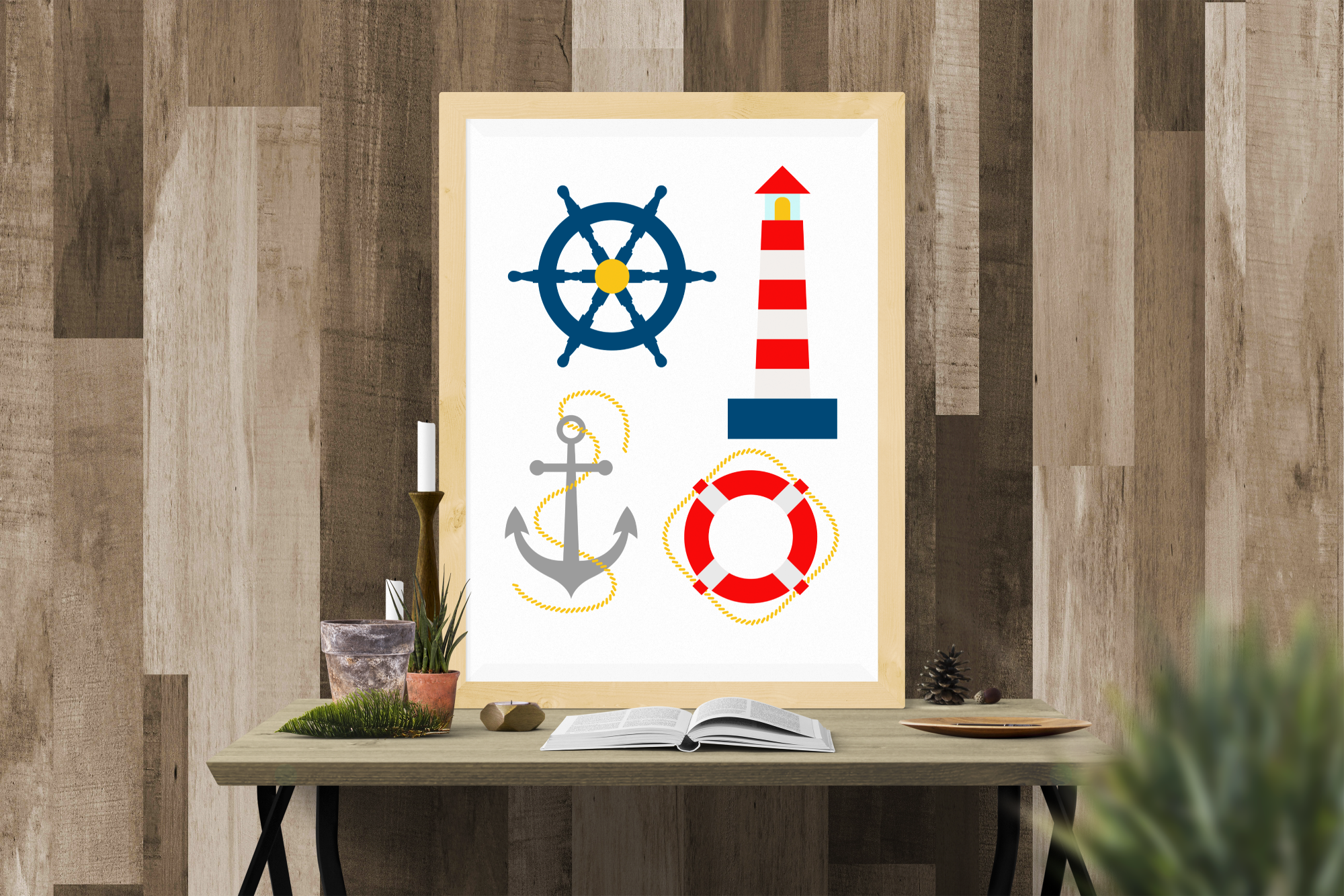 Download Free Nautical Lighthouse Set Graphic By Designedbygeeks Creative for Cricut Explore, Silhouette and other cutting machines.