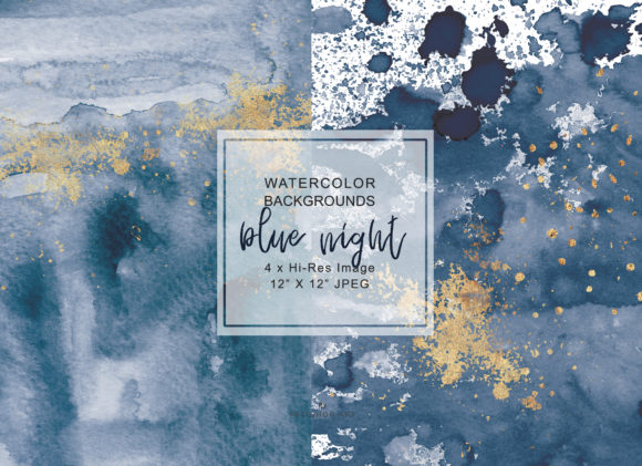 Navy Blue & Gold Washes Background Set Graphic Backgrounds By Patishop Art - Image 3