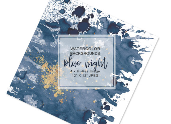 Navy Blue & Gold Washes Background Set Graphic Backgrounds By Patishop Art - Image 4