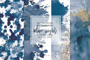 Navy Blue & Gold Washes Background Set Graphic By Patishop Art