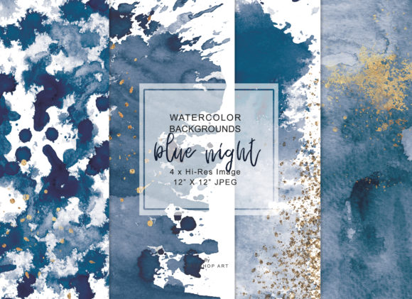 Navy Blue & Gold Washes Background Set Graphic Backgrounds By Patishop Art - Image 1