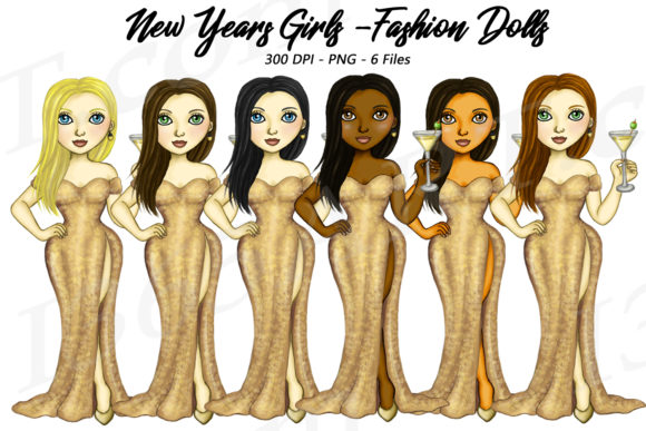 New Years Eve Girls Fashion Illustration Graphic Illustrations By Deanna McRae - Image 1