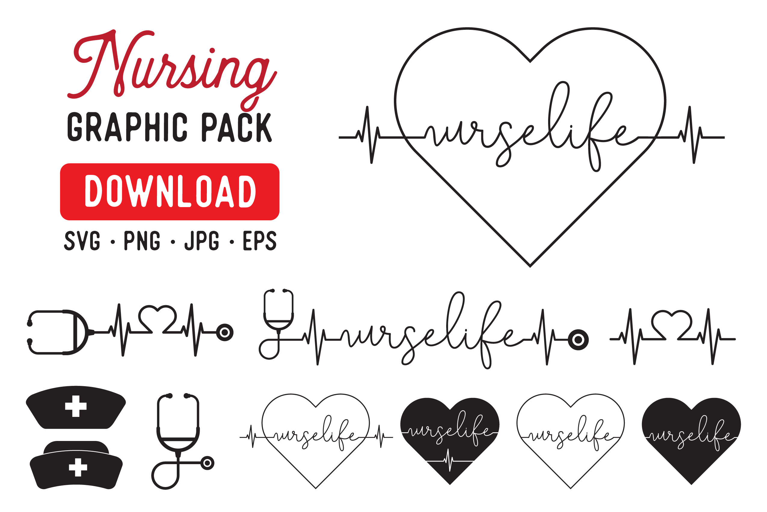 Download Free Nurse Life Nursing Graphic Pack Graphic By The Gradient Fox for Cricut Explore, Silhouette and other cutting machines.