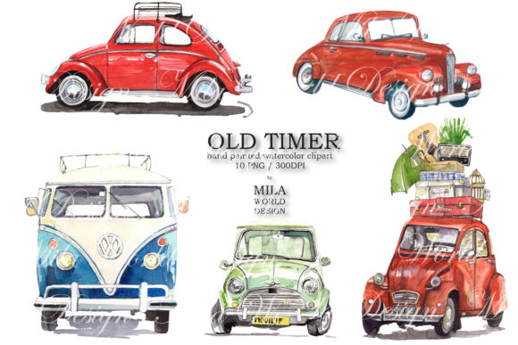 Old Timer Watercolor Clip Art Graphic Illustrations By MilaWorldDesing - Image 2