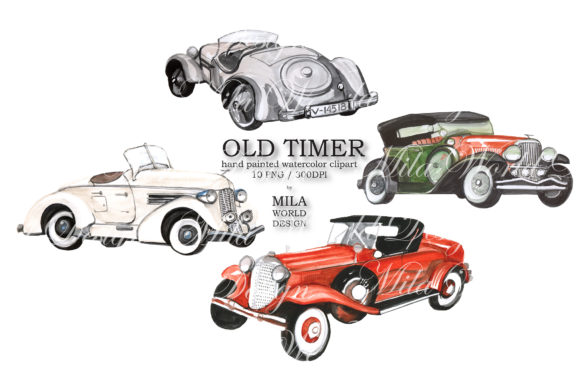 Old Timer Watercolor Clip Art Graphic Illustrations By MilaWorldDesing - Image 3