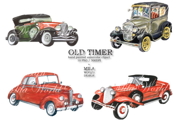 Old Timer Watercolor Clip Art Graphic Illustrations By MilaWorldDesing - Image 4