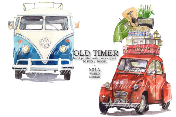 Old Timer Watercolor Clip Art Graphic Illustrations By MilaWorldDesing - Image 5