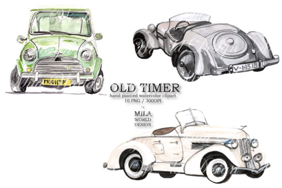 Old Timer Watercolor Clip Art Graphic Illustrations By MilaWorldDesing - Image 6