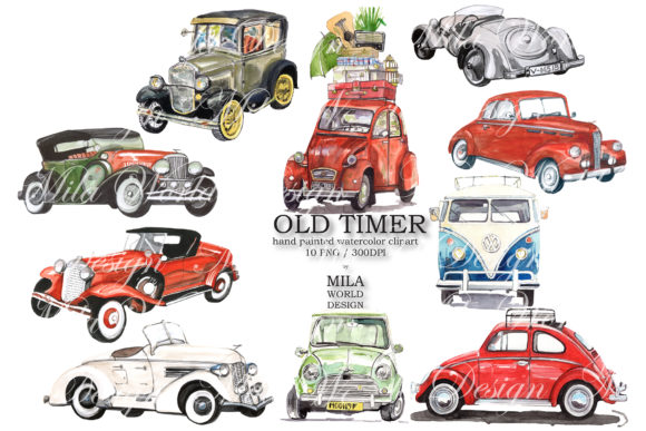 Old Timer Watercolor Clip Art Graphic Illustrations By MilaWorldDesing