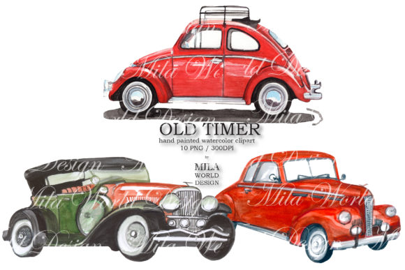 Old Timer Watercolor Clip Art Graphic Illustrations By MilaWorldDesing - Image 7