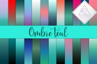 Ombre Teal Digital Paper Graphic By fantasycliparts