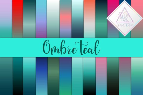 Print on Demand: Ombre Teal Digital Paper Graphic Backgrounds By fantasycliparts - Image 1