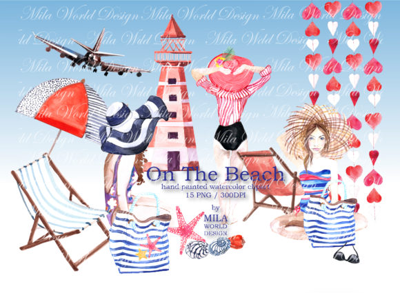On the Beach Watercolor Clip Art Graphic Illustrations By MilaWorldDesing