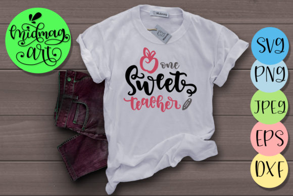 Download Free One Sweet Teacher Svg Graphic By Midmagart Creative Fabrica for Cricut Explore, Silhouette and other cutting machines.