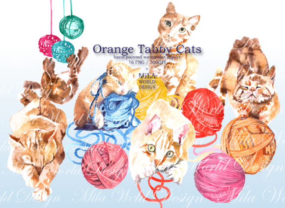 Download Free Orange Tabby Cat Watercolor Clipart Graphic By Milaworlddesing for Cricut Explore, Silhouette and other cutting machines.