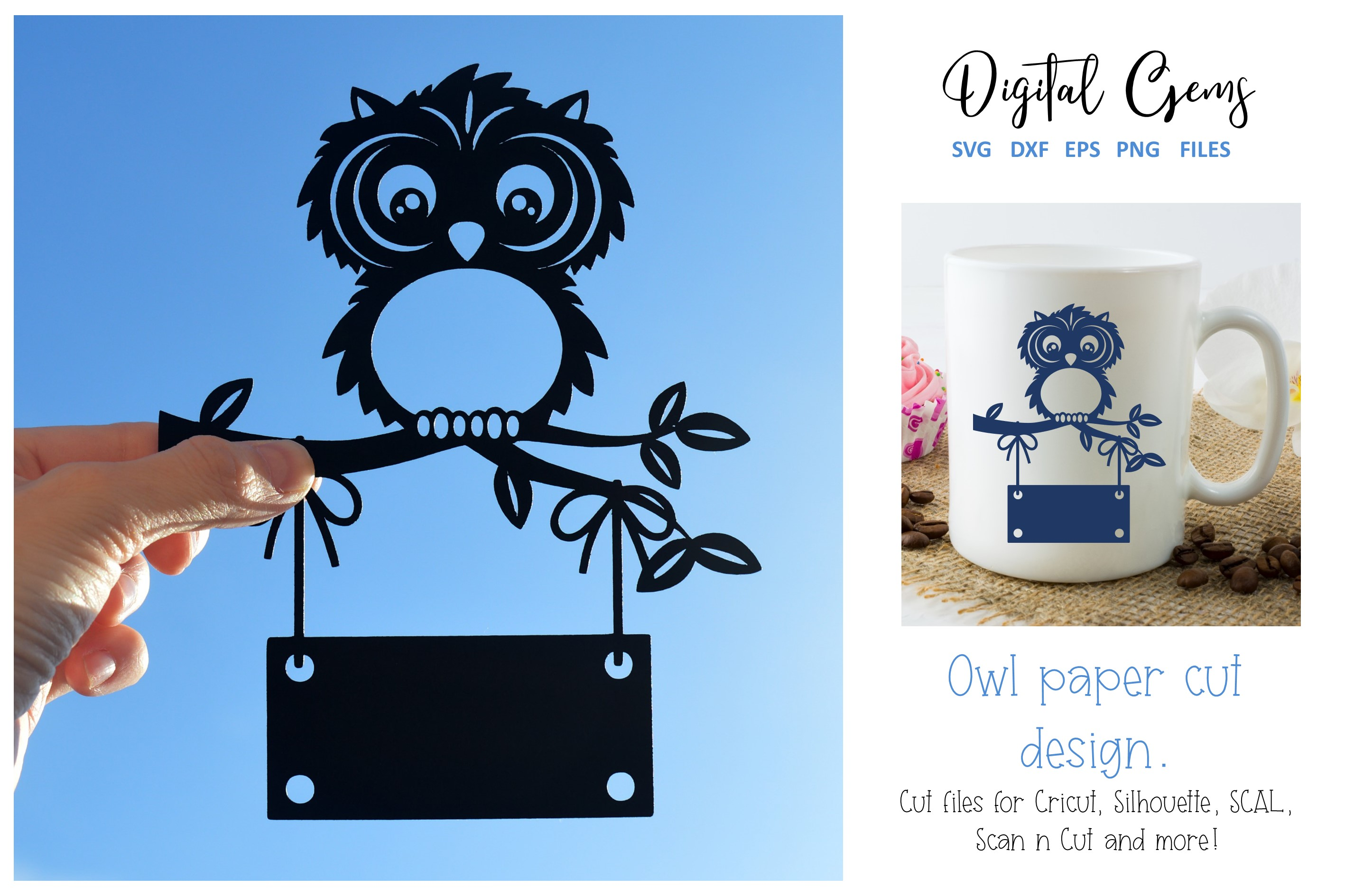 Download Free Owl Paper Cut Design Graphic By Digital Gems Creative Fabrica for Cricut Explore, Silhouette and other cutting machines.