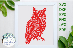 Download Free Owl Zentangle Mandala Graphic By Wispywillowdesigns Creative for Cricut Explore, Silhouette and other cutting machines.