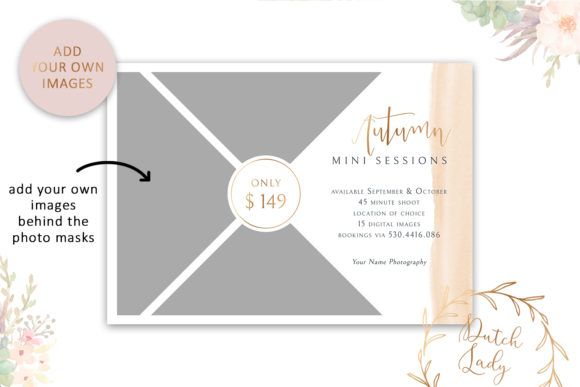 Print on Demand: PSD Photo Session Card Template #44 Graphic Print Templates By daphnepopuliers - Image 2