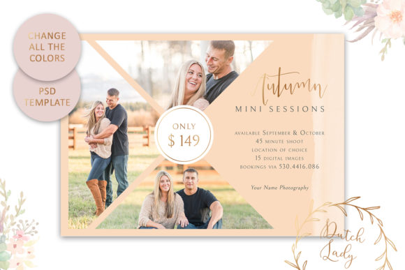 Print on Demand: PSD Photo Session Card Template #44 Graphic Print Templates By daphnepopuliers - Image 3